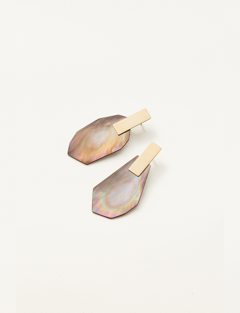 Kathleen Whitaker Brown Shell Earrings