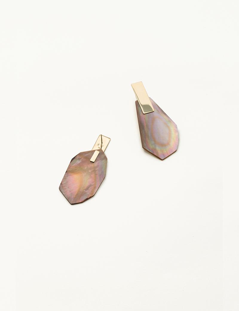 Kathleen Whitaker Brown Shell Earrings on Plane