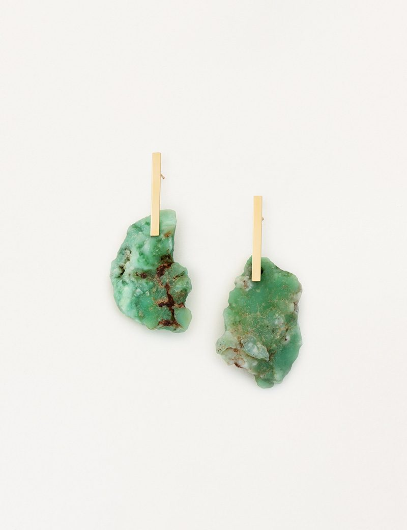 Kathleen Whitaker Chrysoprase Nugget on Long Plate Earrings