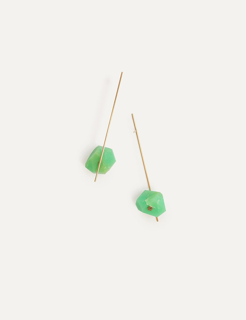 Kathleen Whitaker Chrysoprase Nugget on Strand Earrings
