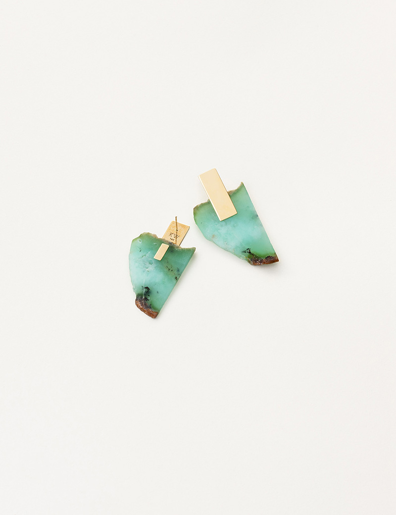 Kathleen Whitaker Chrysoprase Slice Earrings with Plane Stud