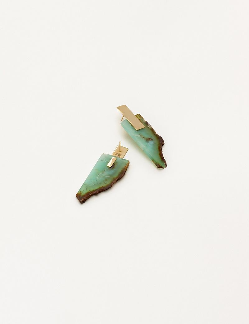 Kathleen Whitaker Chrysoprase Slice Earrings on Plane Stud