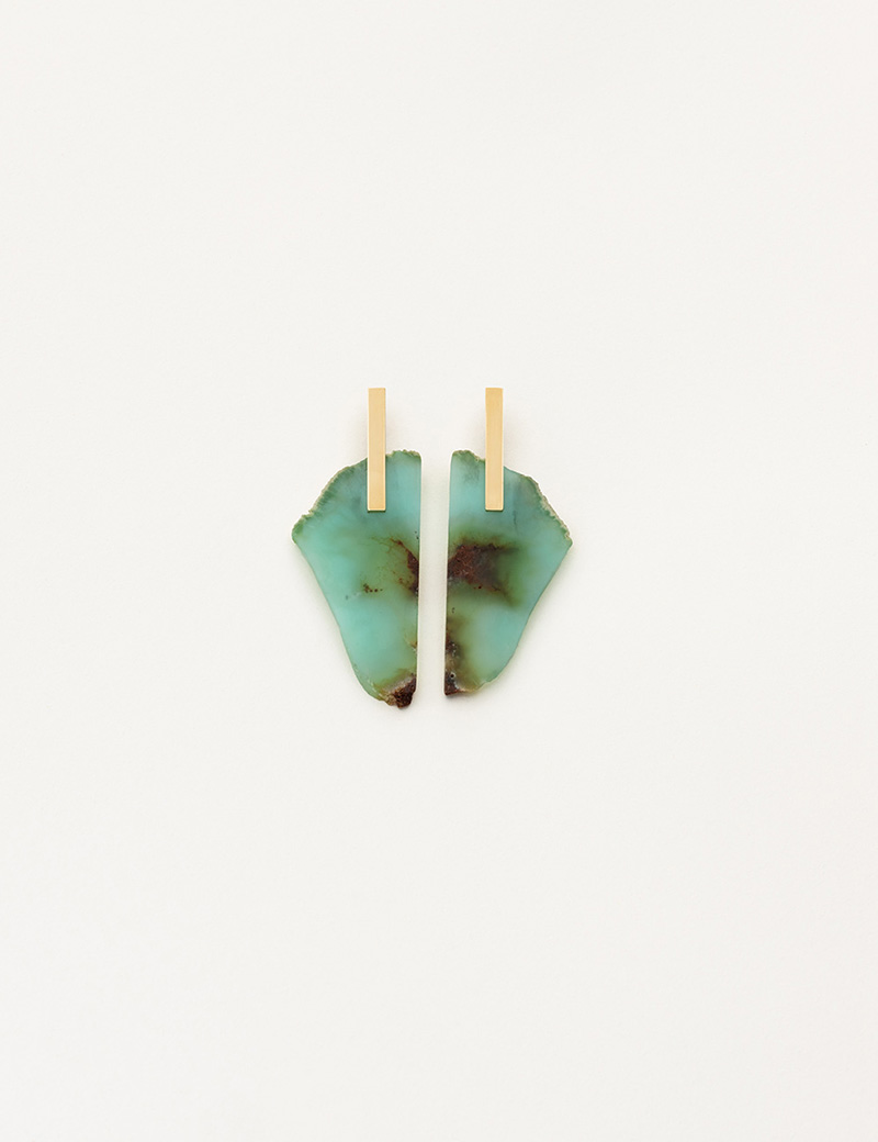 Kathleen Whitaker Chrysoprase Slice with Plate Studs 9