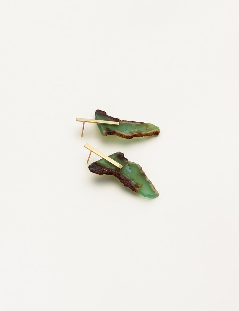 Kathleen Whitaker Chrysoprase Slice with Plate Studs 5