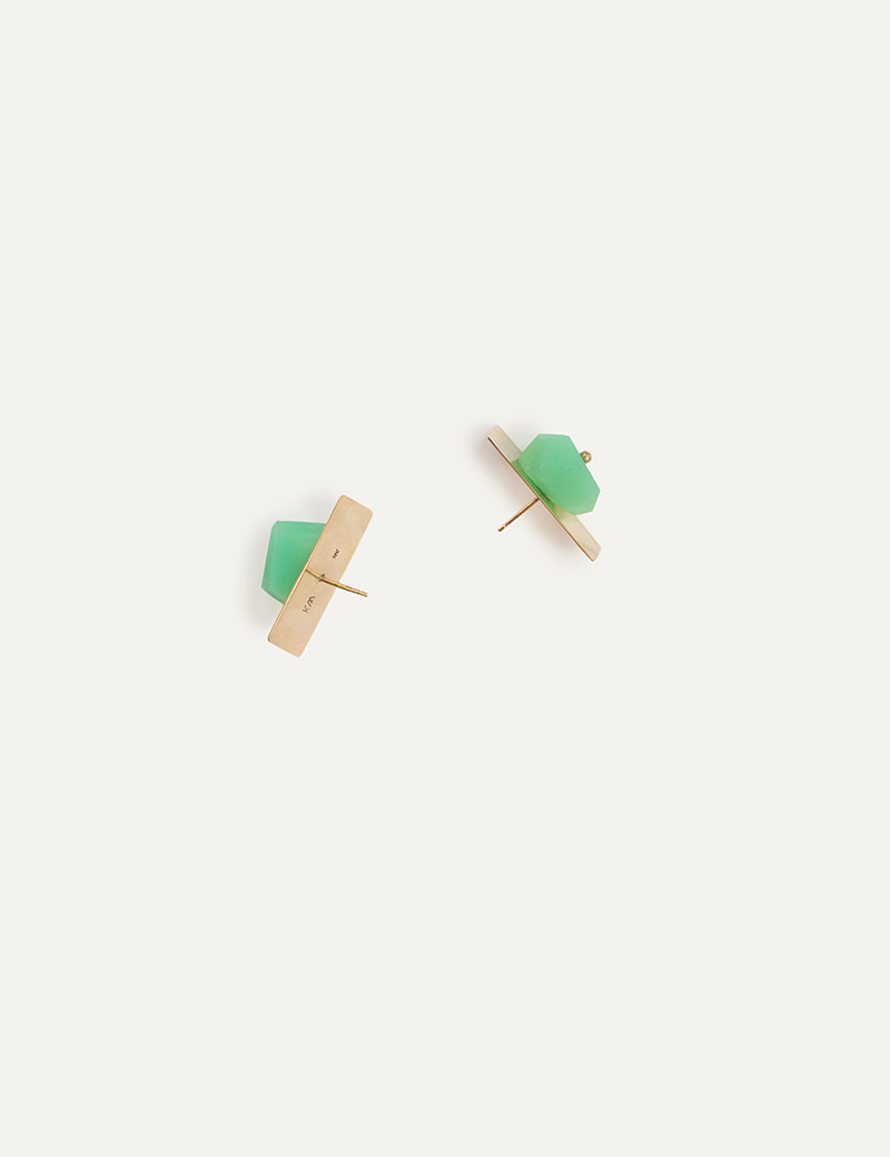 Kathleen Whitaker Chrysoprase Nugget on Plane Stud