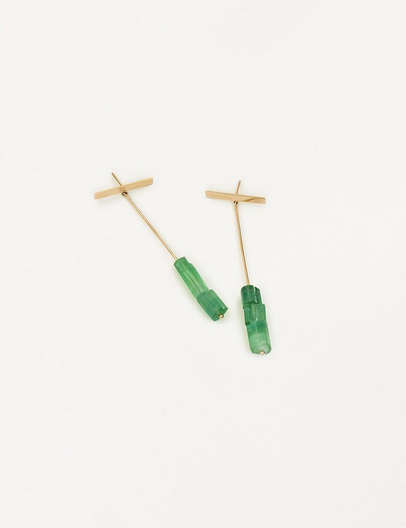 Kathleen Whitaker Green Tourmaline Drops with Strand and Long Plate Stud 2