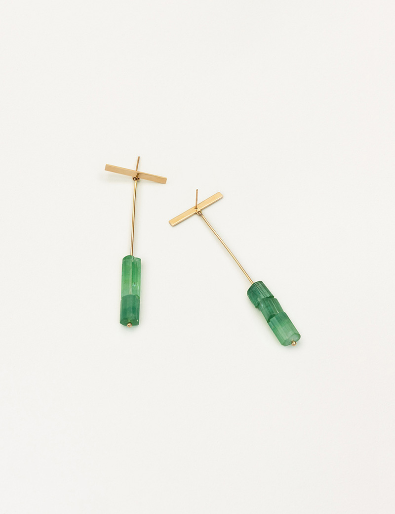 Kathleen Whitaker Green Tourmaline Drops with Strand and Long Plate Stud