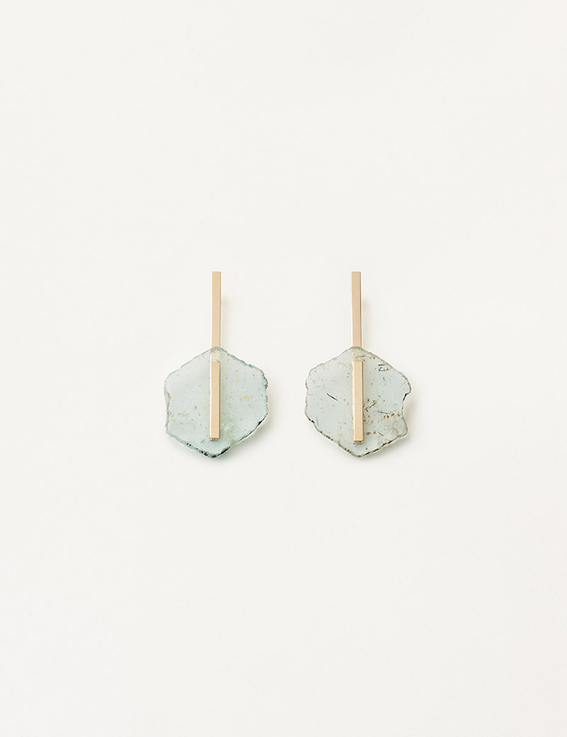 Kathleen Whitaker Light Aquamarine Slice Earrings