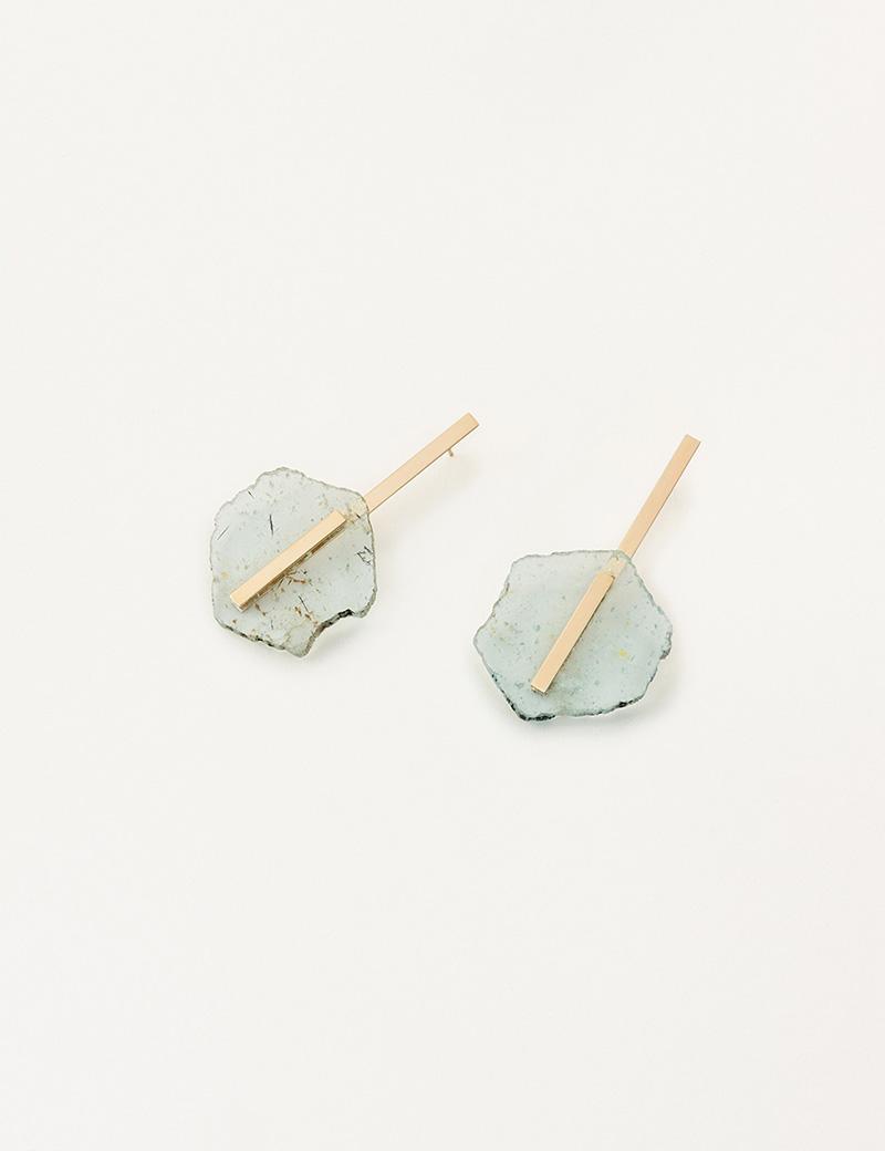 Kathleen Whitaker Light Aquamarine Slice Earrings Extra Long Plate