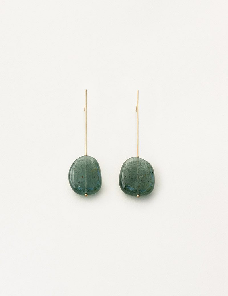 Kathleen Whitaker Moss Aquamarine on Strand Earrings