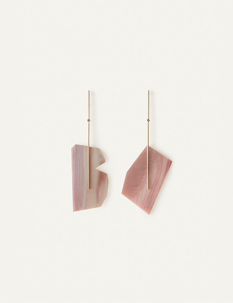 Kathleen Whitaker Pink Mussel Shell on Stick and Strand Earrings