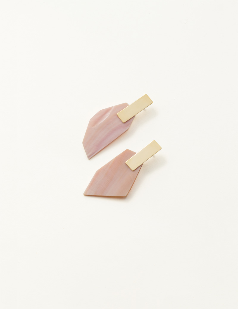 Pink Mussel Shell Earrings with Plane