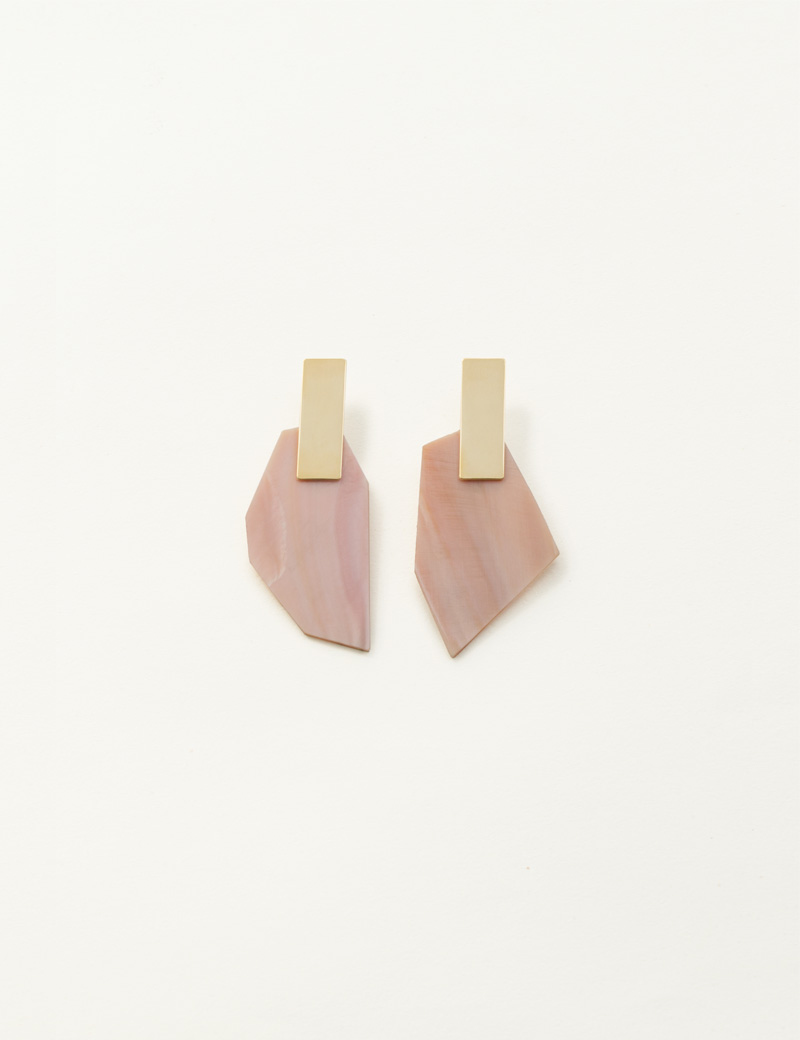 Kathleen Whitaker Pink Mussel Shell Earrings with Plane