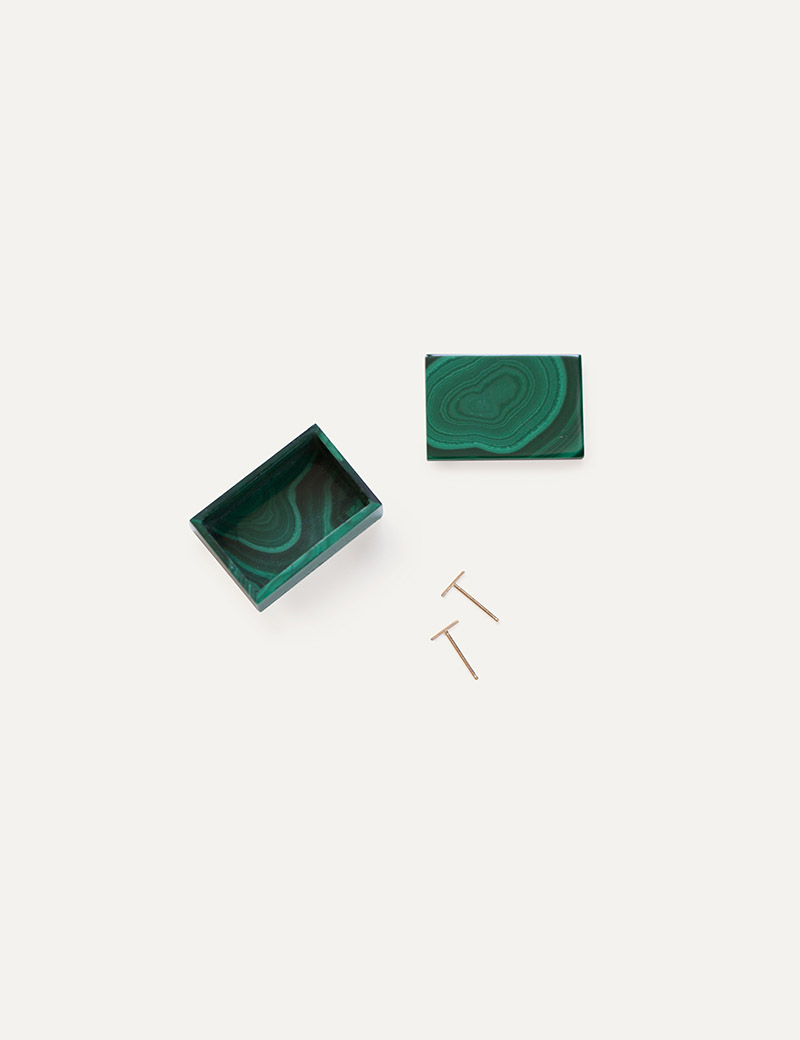 Kathleen Whitaker Gift Set Malachite Box Staple Studs