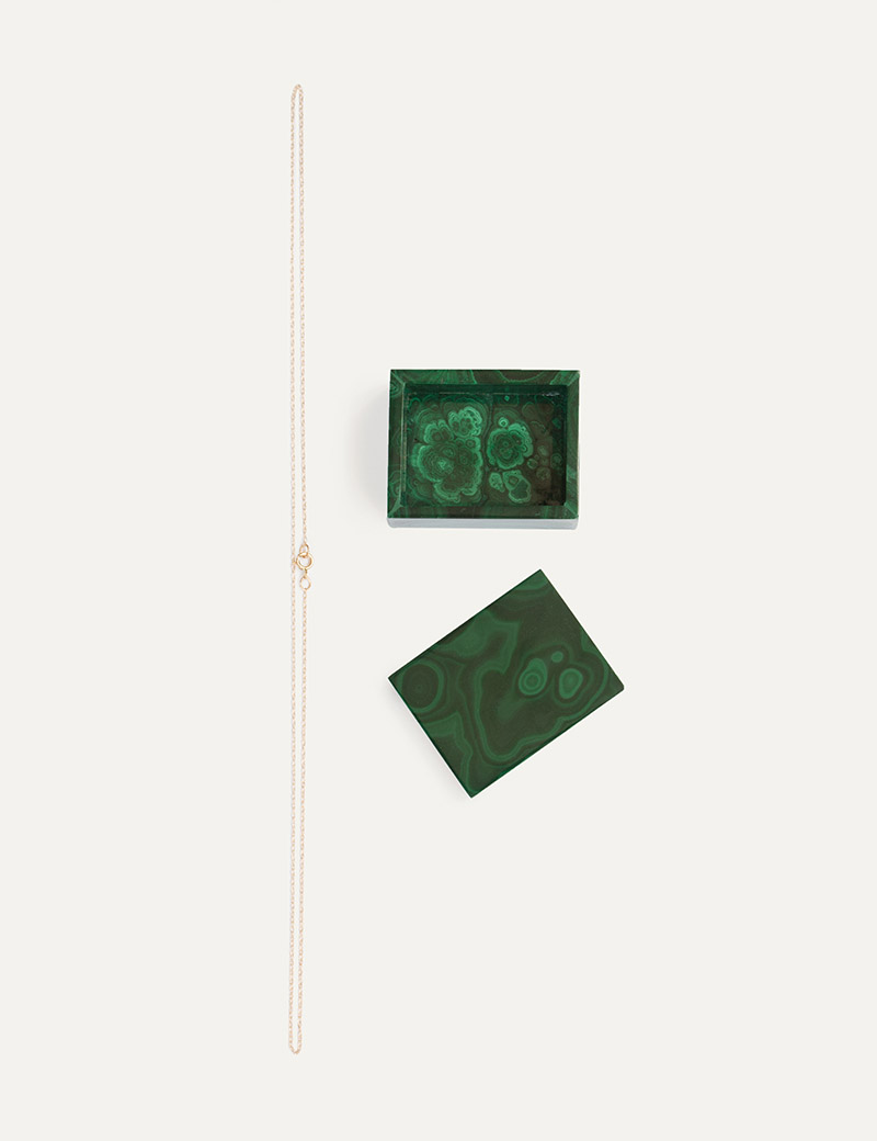 Kathleen Whitaker Gift Set Malachite box and Thin Chain Necklace