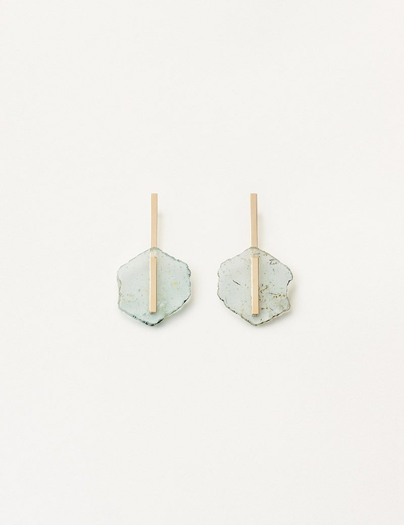 Kathleen Whitaker Light Aquamarine Earrings overhead