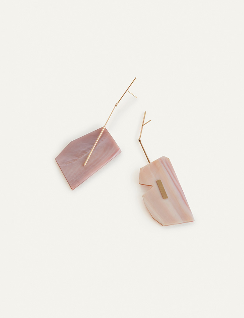 Kathleen Whitaker Pink Mussel Shell earrings on Stick and Strand